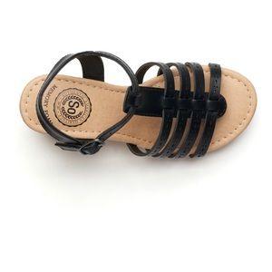 New-size 2 Girls Wedge Sandals, Black